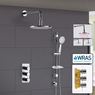 Calla Round Concealed Thermostatic Shower Valve Mixer Set -  LED Shower Shower Head & Rail Handset