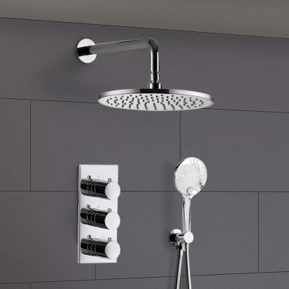 Calla Round Shower Head Handset 2 Way 3 Dial Concealed Thermostatic Mixer