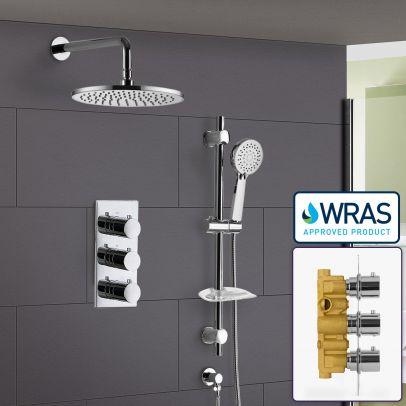 Calla Round 3 Dial 2 Way Bathroom Concealed Thermostatic Shower Mixer Valve Tap