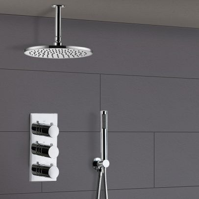 Calla Round Concealed Thermostatic Shower Valve Mixer Set - Ceiling Head & Handset