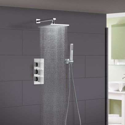 Rose 2 Way Square Concealed Thermostatic Mixer Valve Hand Held Shower Head