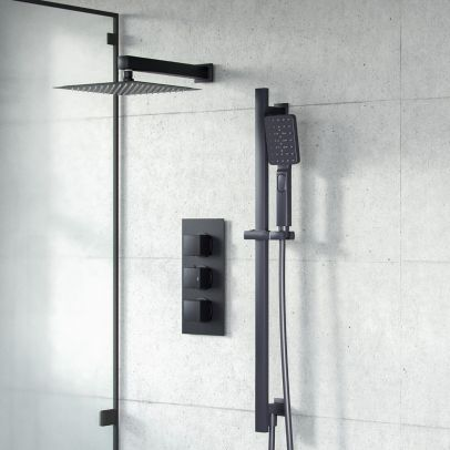 Adam Slim Square Concealed Thermostatic Mixer Valve 3 Dial 2 Outlets Shower Set Matte Black