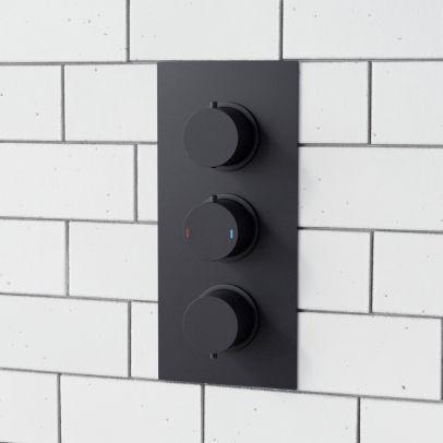 3 Dial 3 Way Round Concealed Thermostatic Shower Valve - Matt Black