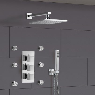 Olive Bathroom 3 Way Concealed Thermostatic Shower - Thermostatic Valve, Shower Head and Body Jets