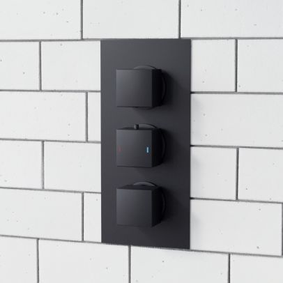 Matt Black 3 Dial 3 Way Square Concealed Thermostatic Shower Valve