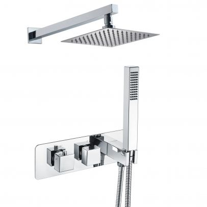 Bathroom 2 Dial 2 Way Square Concealed Thermostatic Valve - Shower Slim Head & Handset
