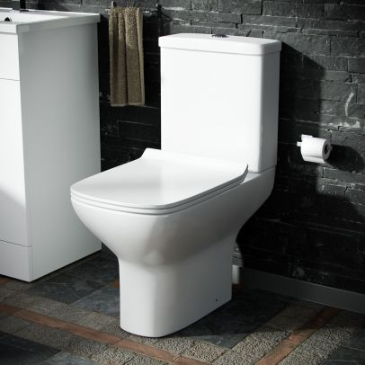 Sory Rimless Close Coupled WC Toilet Pan, Cistern and Slim Soft Close Seat
