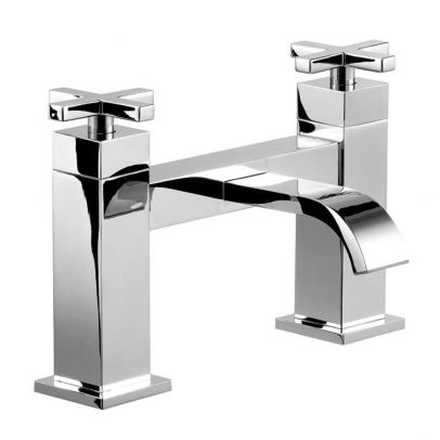 Newman Modern Square Cross Handle Bath Filler Mixer Tap Chrome