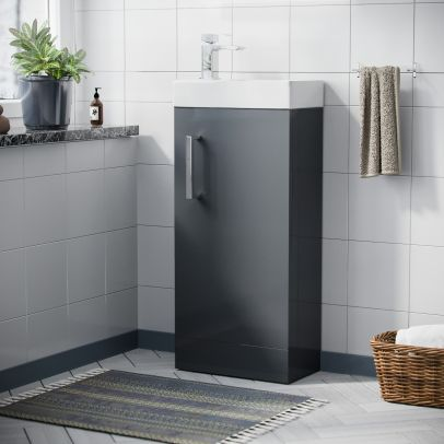 Nanuya Cloakroom 400 mm Grey Compact Basin Vanity Unit