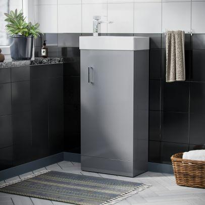 Nanuya Cloakroom 400 mm Light Grey Basin Vanity Unit