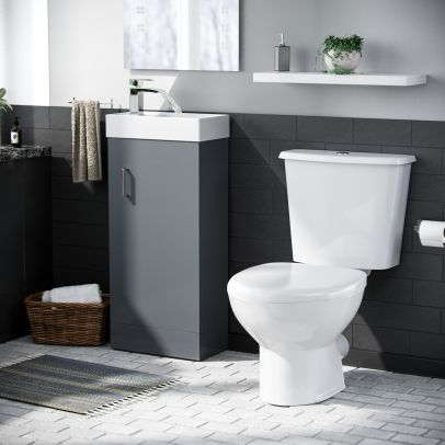 Carder White Basin Vanity Unit Toilet WC and Cistern