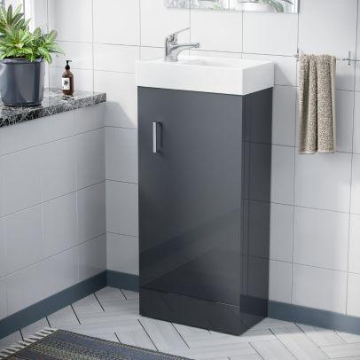 Compact 400 Basin Dark Grey Vanity Cabinet Bathroom Sink & Single Leve Chrome Mono Mixer Tap Set