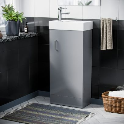 Compact 400 Basin Light Grey Vanity Cabinet Bathroom Sink & Chrome Mixer Tap Set