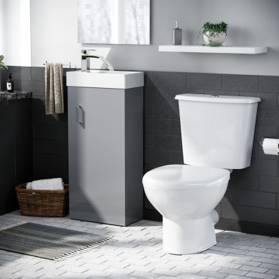 Carder Cloakroom Basin Vanity Cabinet and Close Coupled WC Toilet Set