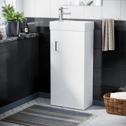 Compact 400 Basin White Vanity Cabinet Bathroom Sink & Chrome Mixer Tap Set