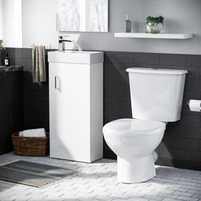 Nanuya 400mm Vanity Basin Unit & Close Coupled Toilet White