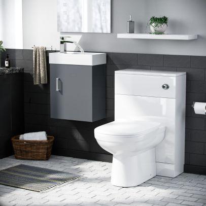 Nanuya 400mm Cloakroom Wall Hung Basin Vanity Unit Dark Grey, BTW Unit & BTW Toilet White