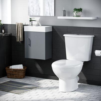 Nanuya 400mm Cloakroom Wall Hung Basin Vanity Unit & Close Coupled Toilet Dark Grey