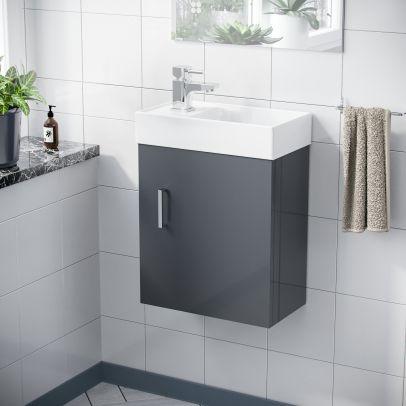Nanuya 400mm Cloakroom Wall Hung Basin Vanity Unit, Mixer Tap & Waste Dark Grey