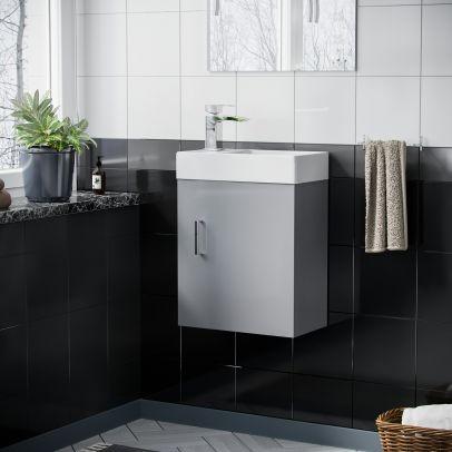Nanuya 400 mm Cloakroom Light Grey Wall Hung Basin Vanity Unit