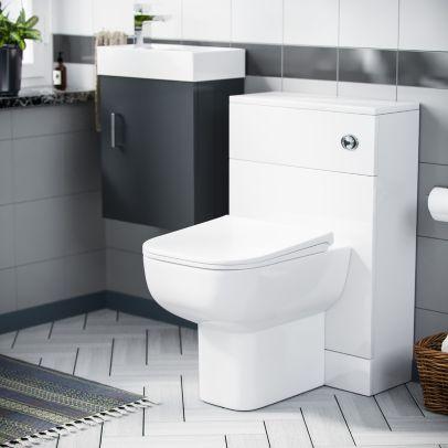 Nanuya 400mm Cloakroom Wall Hung Basin Vanity Unit & Concealed Cistern WC Toilet Pan Grey