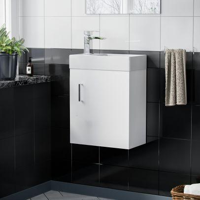 Nanuya Cloakroom 400 mm White Basin Sink Wall Hung Vanity Unit