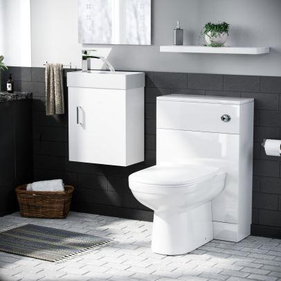 Nanuya 400mm Cloakroom Wall Hung Basin Vanity Unit White, BTW Unit & BTW Toilet White