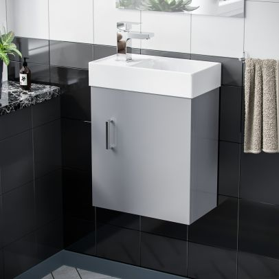 Nanuya 400 mm Cloakroom Wall Hung Vanity Cabinet and Mixer Tap Set