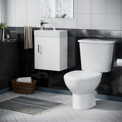 Carder Cloakroom Basin Sink Vanity Unit and Close Coupled Toilet