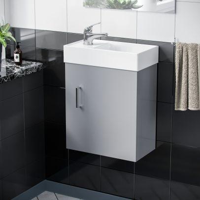 Nanuya 400 mm Cloakroom Light Grey Vanity Unit Complete with Tap Set