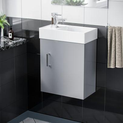 Nanuya 400mm Cloakroom Wall Hung Basin Vanity Unit, Mixer Tap & Waste Light Grey