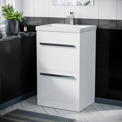 Floor Standing Cabinet 2 Drawer 500mm Vanity Unit with Ceramic Sink Basin Gloss White