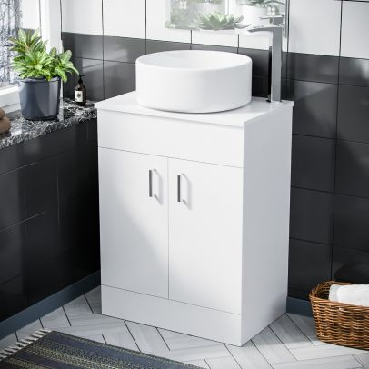 Onken 500mm White Vanity Cabinet and Rounded Counter Top Basin Sink Unit