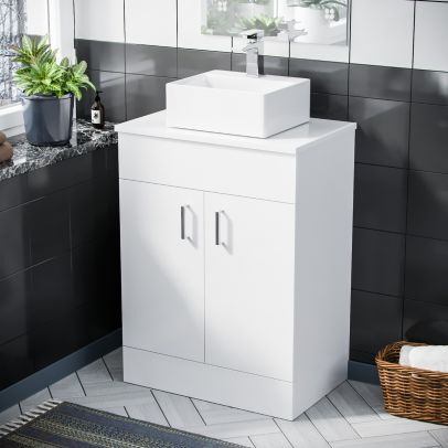 Onken 500mm White Vanity Cabinet and Small Rectangle Counter Top Basin Unit