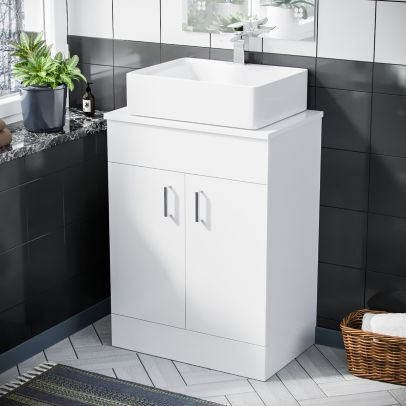 Onken 500mm White Vanity Cabinet And Rectangle Counter Top Basin Sink Unit