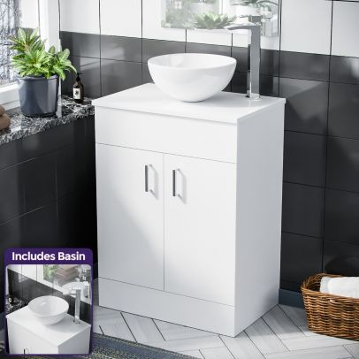 Onken  500mm White Vanity Cabinet And Round Bowl Counter Top Basin Sink Unit