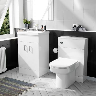 500 mm Basin Vanity & WC Toilet Pan with Soft Close Seat Bathroom Suite White