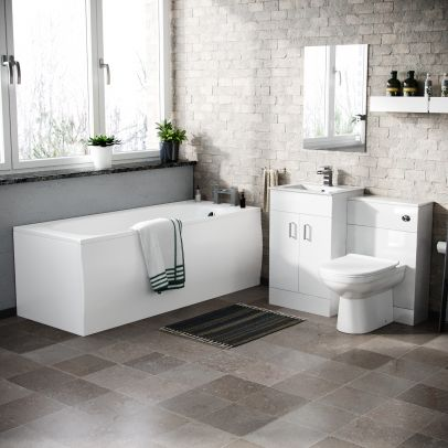 Nanuya Basin Vanity & WC Toilet Pan Soft Close Seat and Bath Suite