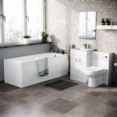 Nanuya Basin Vanity & WC Toilet Pan and Bath with Front Panel
