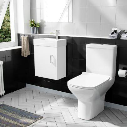 Nanuya 400mm Cloakroom Wall Hung Basin Vanity Unit & Rimless Close Coupled Toilet White
