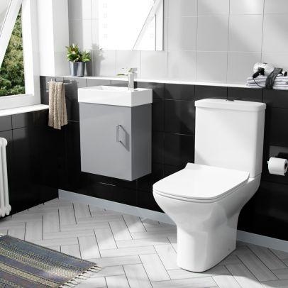Nanuya 400mm Cloakroom Wall Hung Basin Vanity Unit & Rimless Close Coupled Toilet Light Grey