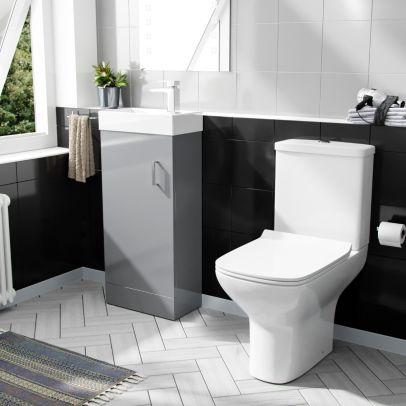 Nanuya 400mm Cloakroom Vanity Basin Unit & Rimless Close Coupled Toilet Light Grey