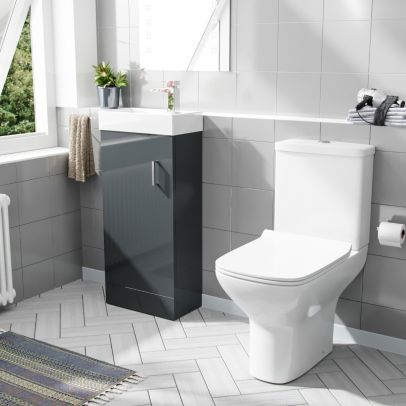 Nanuya 400mm Cloakroom Vanity Basin Unit & Rimless Close Coupled Toilet Dark Grey