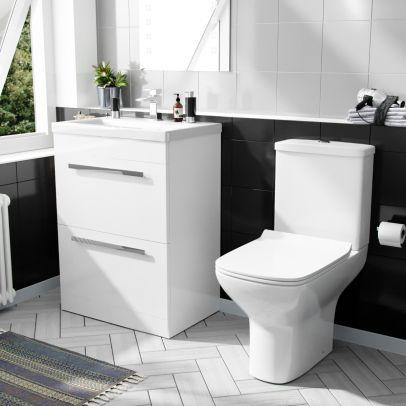 Nanuya 600mm Floorstanding 2 Drawer Vanity Basin Unit & Rimless Close Coupled Toilet White
