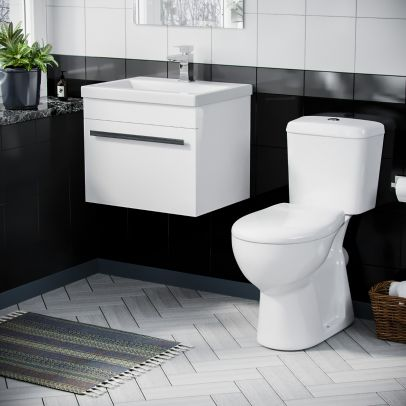 500mm Wall Hung 1 Drawer Vanity Unit Gloss White And ECO Complete Toilet Set