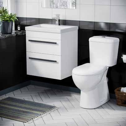 500mm Wall Hung 2 Drawer Vanity Unit Gloss White And ECO Complete Toilet Set