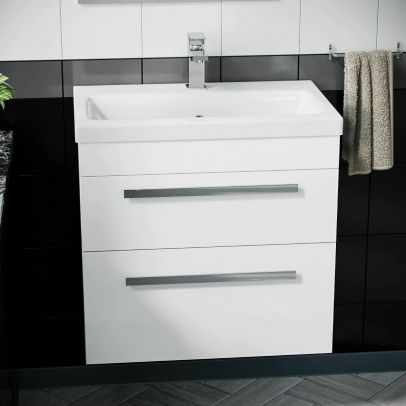 Wall Hung Cabinet 2 Drawer 600mm Vanity Unit Gloss White with Ceramic Sink Basin