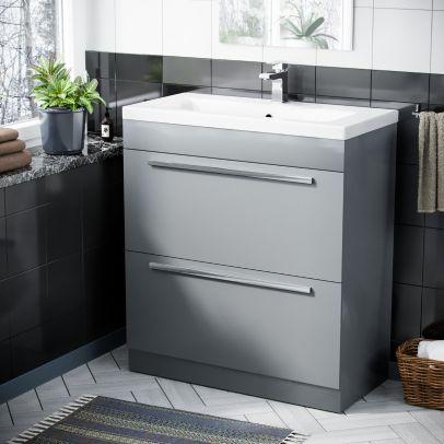 Nanuya 800 mm Light Grey 2 Drawer Vanity Storage Cabinet