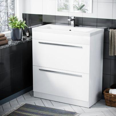 800 mm Cloakroom White Basin 2 Drawer Vanity Cabinet
