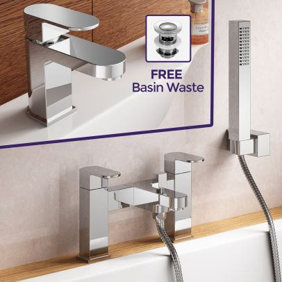 Eclipse Modern Basin Mono and Bath Shower Filler with Hand Held Tap Set
